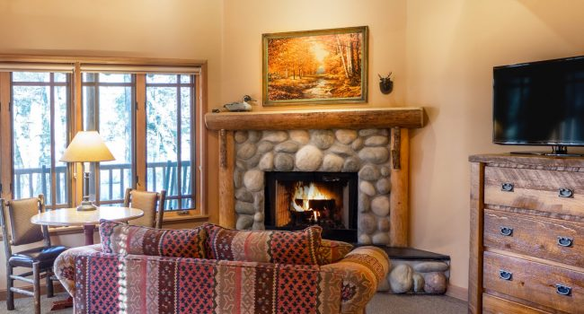 Each king cabin includes a gas fireplace and flat-screen TV
