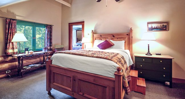 Lodge Room #2 has a queen bed and vaulted ceilings