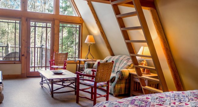 The lower floor of the A-Frame cabin