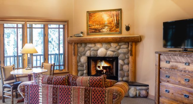 All cabins feature a gas fireplace